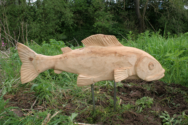 Anthony Hammond Carved oak fish at Dane meadows, cheshire