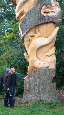 Anthony Hammond with his chainsaw carved tree at wolseley bridge.